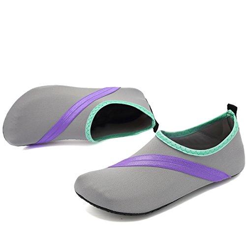 Vifuur Unisex Rask Tørking Aqua Vann Sko Basseng Stranden Yoga Trening Sko For Menn Kvinner Lightgray