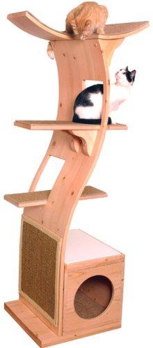 Lotus Cat Tree - Cat Condo Climber (Mahogany Finish/Beige Carpet)