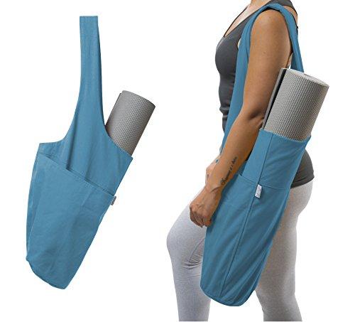 Yogiii Yoga Mat Bag   The Original YogiiiTote   Yoga Mat Tote Sling Carrier w/Large Side Pocket & Zipper Pocket   Fits Most Size Mats (Azulene Blue)