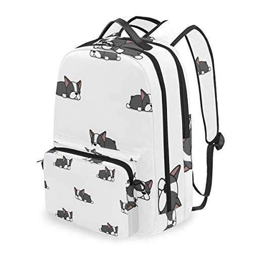 Cross Terrier - Backpack with Detachable Cross Bag Set Boston Terrier Puppy Computer Backpacks Book Bag for Travel Hiking Camping Daypack