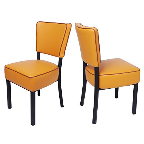 LUCKYERMORE Kitchen Dining Chairs Set of 2 Modern Classic Leather Side Chair for Dining Room Cafe Bedroom, Orange (Chairs Restaurant Classic)