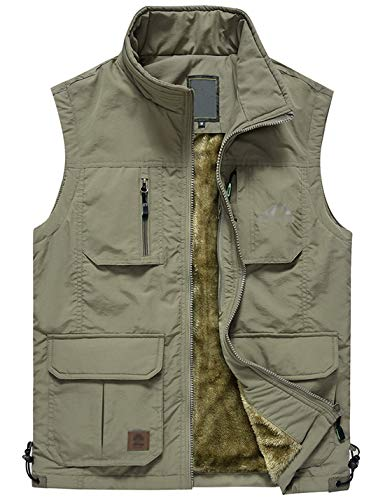 (Jenkoon Men's Casual Lightweight Outdoor Travel Fishing Hunting Vest Jacket with Pockets (Khaki-04, X-Small))