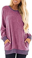 LYXIOF Womens Color Block Long Sleeve Shirt Round Neck Pocket Pullover Casual Tunic Sweatshirts Tops