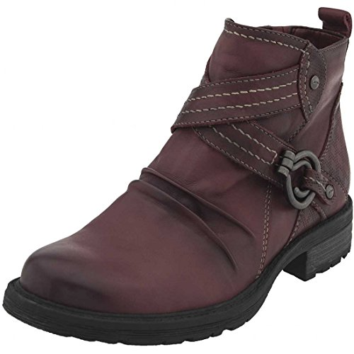 Earth Womens Laurel Leather Almond Toe Ankle Combat Boots Bordeaux Full Grain Leather