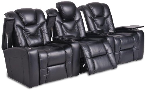 SeatCraft Naples Home Theater with Power Recline, Tables, Row of 3, Black