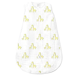 SwaddleDesigns Cotton Muslin Sleeping Sack with 2-Way Zipper, Pastel Pink Butterflies, Medium (6-12 Months)