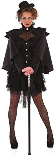 Ladies Black Gothic Victorian Widow Halloween Fancy Dress Costume Outfit 8-22 Plus Size (UK 16-18) -
