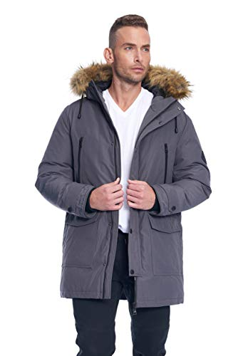 Alpine North Mens Vegan Down Drawstring Winter Jacket, Dark Grey, L