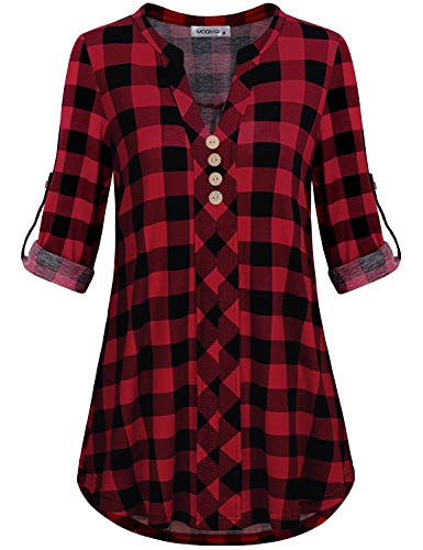 - MOQIVGI Plaid Shirts for Women,Fall Winter Clothes Long Sleeve V Neck Ultra Soft Lightweight Curved Hem A Line Flowy Tops Modern Fit Dressy Blouses Ladies Tunics 3/4 Sleeve Black Red Large