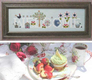 Stitch Chart Welcome Cross (Cottage Welcome Cross Stitch Chart and Free Embellishment)