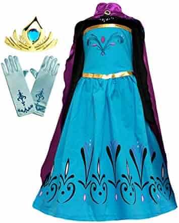 Cokos Box Girls Coronation Dress Costume Cape Gloves Tiara Crown Accessories Set