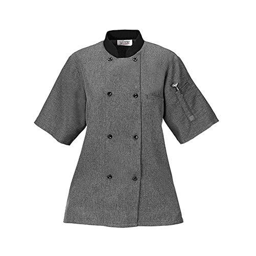 Trim Chef Shirt (Women's Lightweight Chef Coat - Heather Gray w/Black Trim - XL)