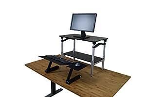 Uncaged Ergonomics (LSDbb) LIFT Standing Desk Conversion Kit. Tall, Portable, Affordable Ergonomic Adjustable Height Sit to Stand Up Converter/Riser. Negative Tilt Keyboard Tray Black