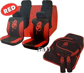13pc Dragon Car Seat Cover Set RED