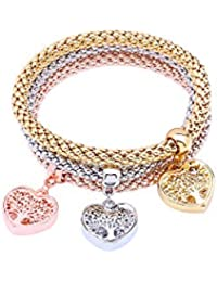 3PCS Gold/Silver/Rose Gold Corn Chain Crystal Charms Multilayer Bracelets Women