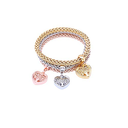 MEIDIJINGBEI 3PCS Silver Rose Gold Corn Chain Crystal Charms Multilayer Bracelets with Heart Shaped Tree of Life for Women