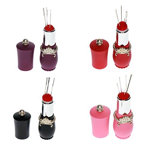 KESOTO 4個 口紅の型 ニードルピンクッション 縫い針 付きピン ニードル クッションホルダー 手芸 待ち針