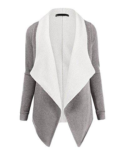 Chaqueta Cárdigan Suelto De Parka Corto Elegante Moda BlancoGris Coat Mujer Trench Sudaderas 16Xr18Rq