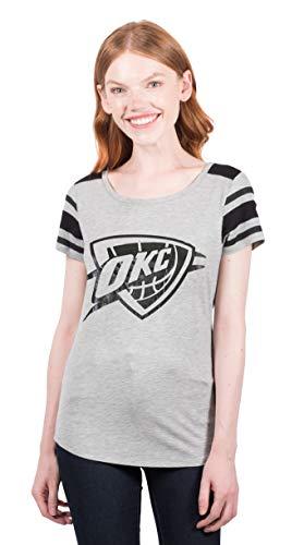 UNK NBA Adult Women T Box Out Varsity Stripe Tee Shirt, Gray, Small