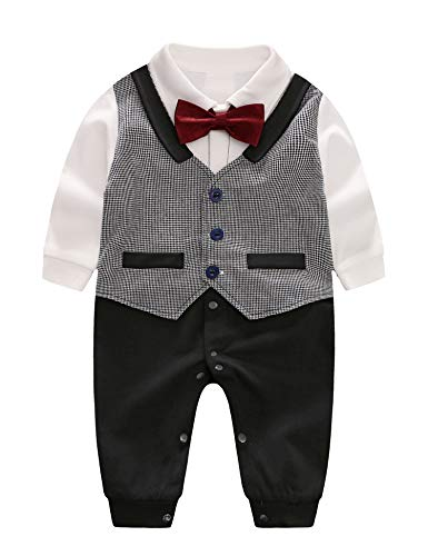 D.B.PRINCE Baby Boys Long Sleeves Gentleman Cotton Rompers Small Suit Bodysuit Outfit with Bow Tie (Gentleman, 3-6 -