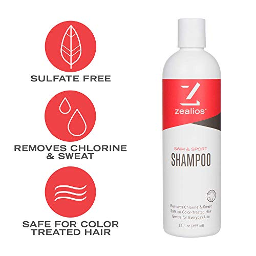Zealios Sulfate Free Swim & Sport Shampoo (12 oz) - Vegan, Gluten, Cruelty Free & Safe For Treated Hair