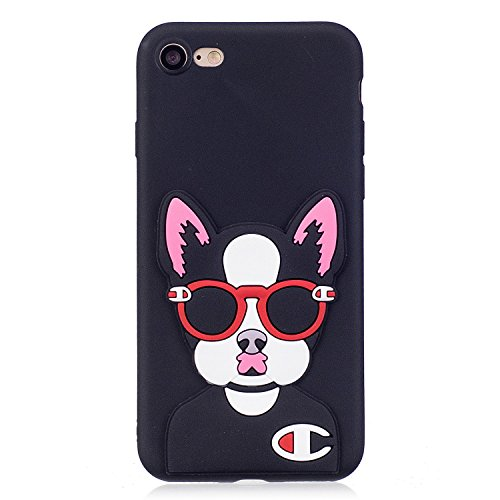 iPhone 7 / 8 Hülle , Leiai 3D Brille Katze Leicht TPU Weich Tasche Schutzhülle Silikon Etui Handyhülle Stoßdämpfende Schale Fall Case Shell für Apple iPhone 7 / 8