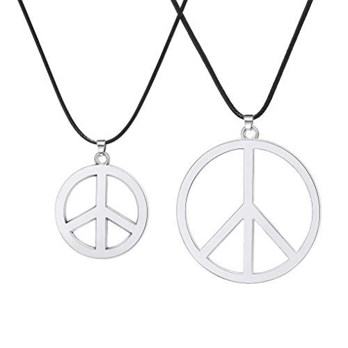 BOMAIL 2Pcs Peace Sign Pendant Necklaces for Men Women Classic 60s 70s Party Accessories Hippie Pendant Necklace ()