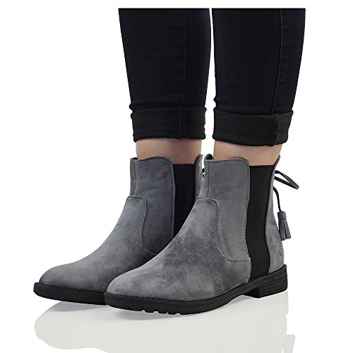 Suede Casual Womens Grey ESSEX Faux Elasticated GLAM Biker Boots Ankle Chelsea Suede Faux nH5WWwqYf