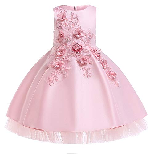Baby Girls Infant Embroidery Dress Wedding Toddler High-end Dress Flower Dress,D0952-Pink,7]()