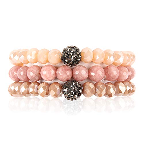 Crystal Stackable Bracelet - RIAH FASHION Bead Multi Layer Versatile Statement Bracelets - Stackable Beaded Strand Stretch Bangles Sparkly Crystal, Faux Druzy, Pave Fireball (Pave Ball & Natural Stone Mix - Pink)