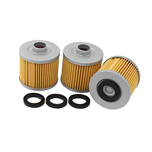 MOTOKU Pack of 3 Oil Filter for Yamaha V Star 250 1100 650 TT500 650 Virago 250 535 700 XT500