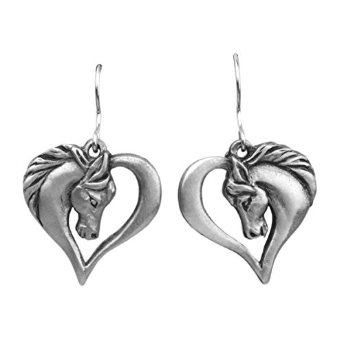 Horse in a Heart Fishhook Earrings (Pewter Fish Earrings)