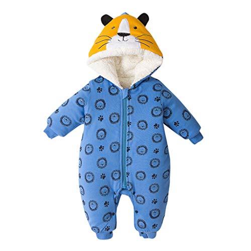 Price comparison product image MaxFox Baby Romper Coat Infant Girl Cartoon Ear Print Hoodie Zipper Winter Thick Jumpsuit Jacket Snowsuit (Blue,  6-12 Months)