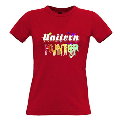 Tim and Ted Unicorn Hunter Rainbow fantasia Magia Stampa disegno della novità Nerd T-Shirt Da Donna
