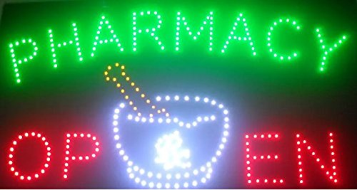 CHENXI Large Size Pharmacy neon signs hot sale led screen display 15.5 X 27.5 inch (40 X 70 CM) indoor cartel luminoso pharmacy flashing led open sign board (70 X 40 CM, pharmacy open-01)