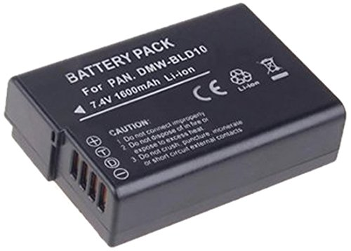 Amsahr S-BLD10 Digital Replacement Battery Plus Travel Charger for Panasonic DMW-BLD10 with Lens Accessories Pouch (Gray)