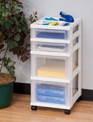 Honey Can Do Rolling Storage Cart with Fabric Drawer, White Bundle with IRIS 4-Drawer Storage Cart with Organizer Top, White by Honey Can Do + IRIS USA (Image #7)
