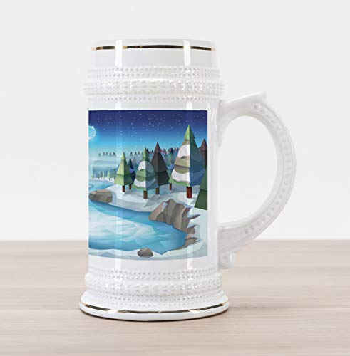 Ambesonne Northwoods Beer Stein Mug, Fantastic Winterland Illustration with Low Poly Style River Mountains and Forest, Traditional Style Decorative Printed Ceramic Large Beer Mug Stein, Multicolor -
