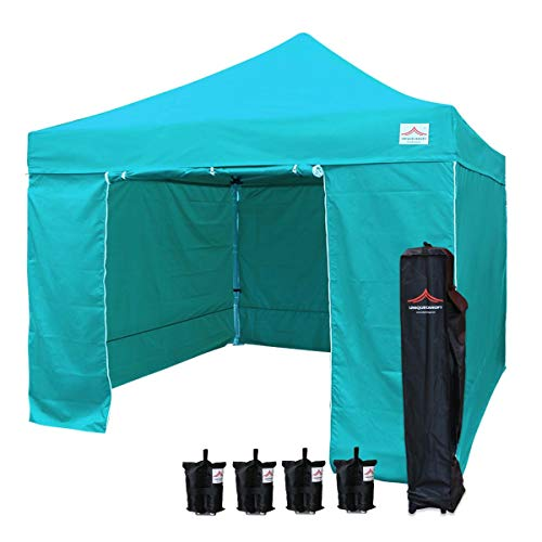 UNIQUECANOPY 10×10 Ez Pop up Canopy Tents for Parties Outdoor Portable Instant Folded Commercial Popup Shelter, with 4 Zippered Side Walls and Wheeled Carrying Bag Bonus 4 Sandbags Lake Blue