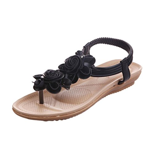 Fheaven Women Sandals Flat Summer Roman Flower Sandals Boho Floral Casual Elastic goring Shoes Slippers Black 8mAJn