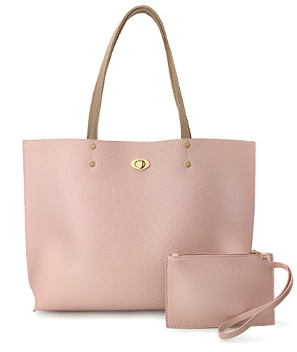 Women's Tote Color-Block Pebbled Faux Leather Shoulder Handbag With Zipper Pocuh Wristlet (Pink) by Hoxis