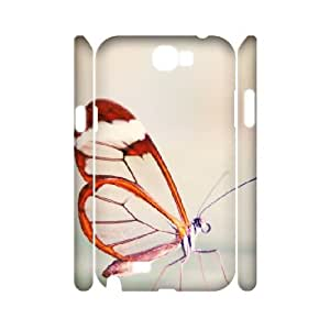 3D [Butterfly Series] Samsung Galaxy Note 2 Case Cute Butterfly Close Up, Samsung Galaxy Note 2 Case Cute Evekiss - White