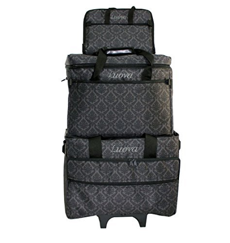 Luova 19'' 3 Piece Rolling Sewing Machine Trolley Set in Black and Grey Print by Luova