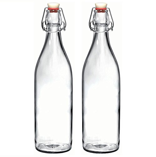 Set of 2 - 33.75 Oz Giara Glass Bottle with Stopper, Swing Top Bottles for Oil, Vinegar, Beverages, Beer, Water, Kombucha, Kefir, Soda, By California Home Goods