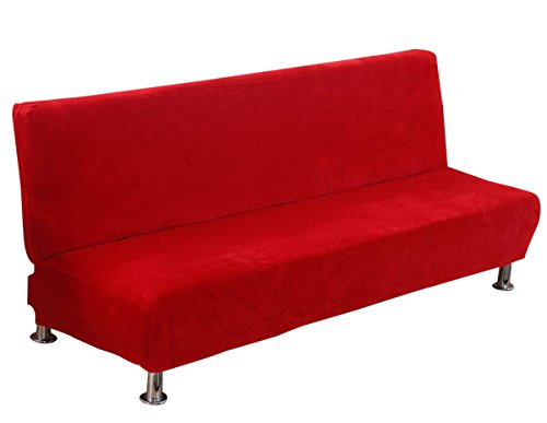 KSDN Soft Armless Sofa Slipcover One Piece,Endurable Pet Dog Furniture Protector Home Decoration Detachable & Washable,Solid Color Full-Angle Wrap Elastic,Anti Slip Couch Futon Shield Red