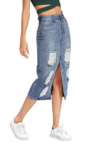 Split Denim Skirt - Verdusa Women's Split Front Ripped Faded Sheath Bodycon Denim Skirt 2-Blue M