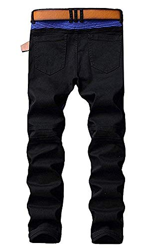 Lin Ya Tou Kebinai Handsome Men's Black Zipper Ripped Straight Slim Moto Biker Jeans,28,Black&Blue