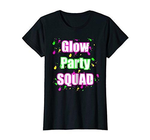 Womens Glow Party Squad Paint Splatter Effect Neon Glow Party Shirt Medium Black ()
