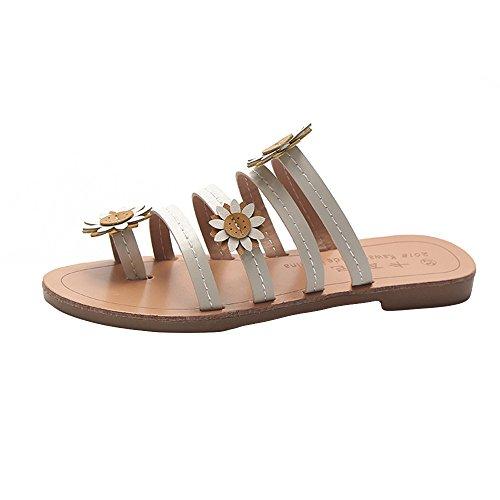 MOIKA Damen Sommer Elegant Böhmen Blumen Schuhe Flache Sandalen Schuhe Mode Strandschuhe Zehentrenner Pantoletten Riemchensandalen Weiß