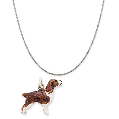 Sterling Silver Enameled English Springer Spaniel Charm on Sterling Silver Rope Chain Necklace, 18